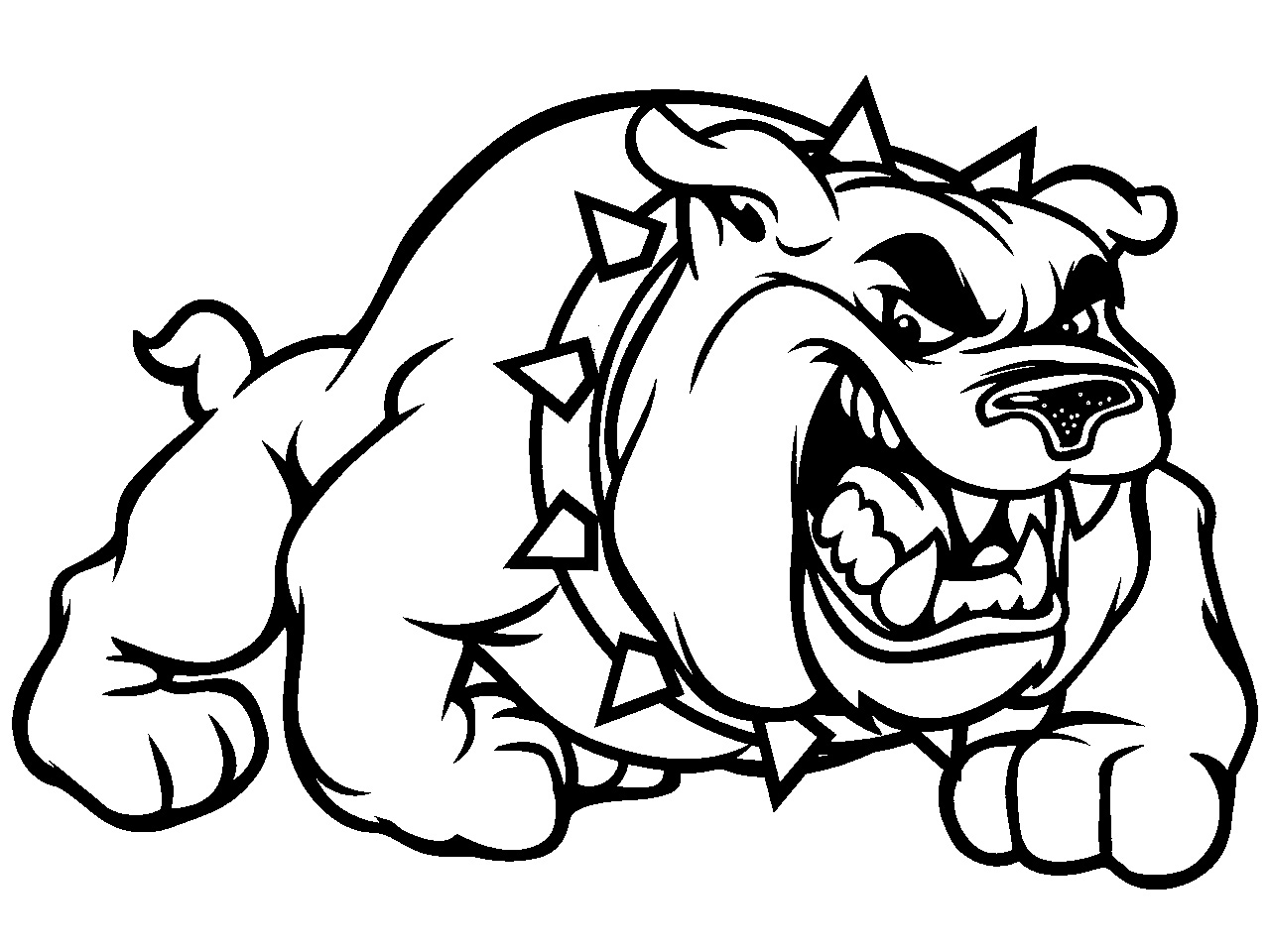 Bulldog clipart black and white. Image of