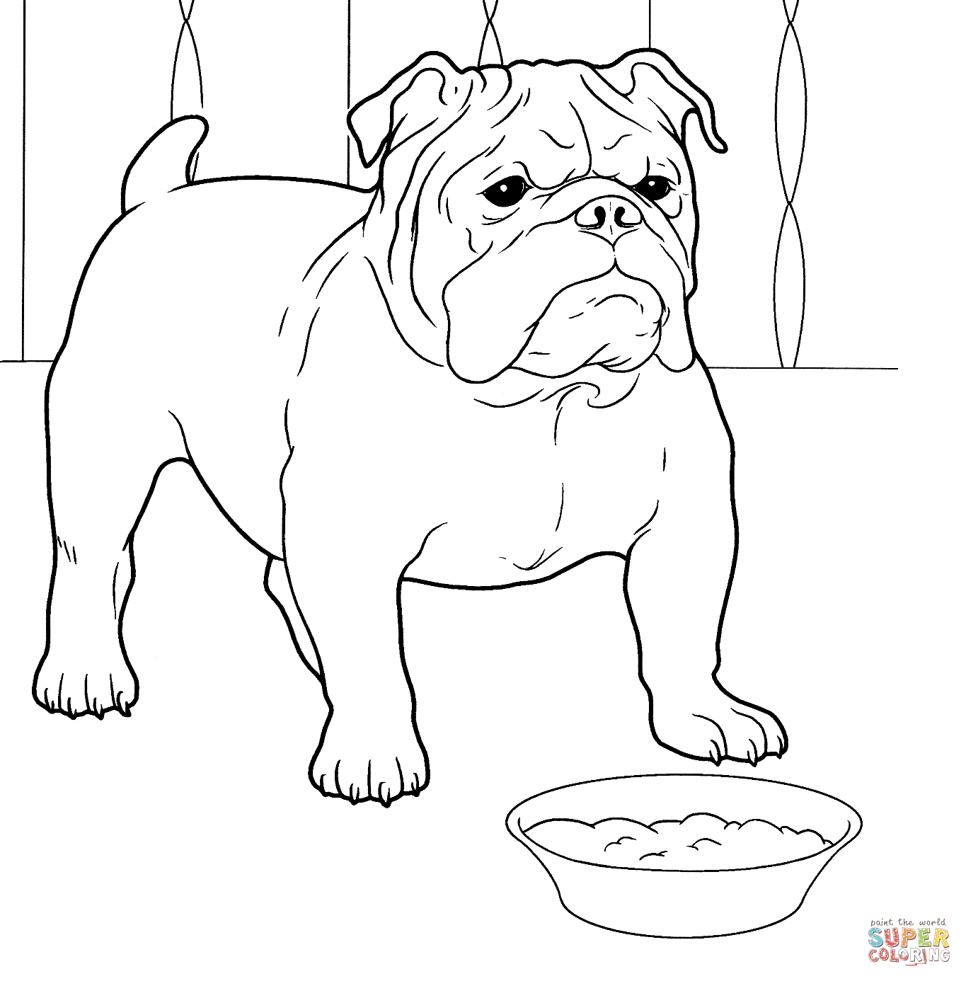English pages download for. Bulldog clipart coloring page