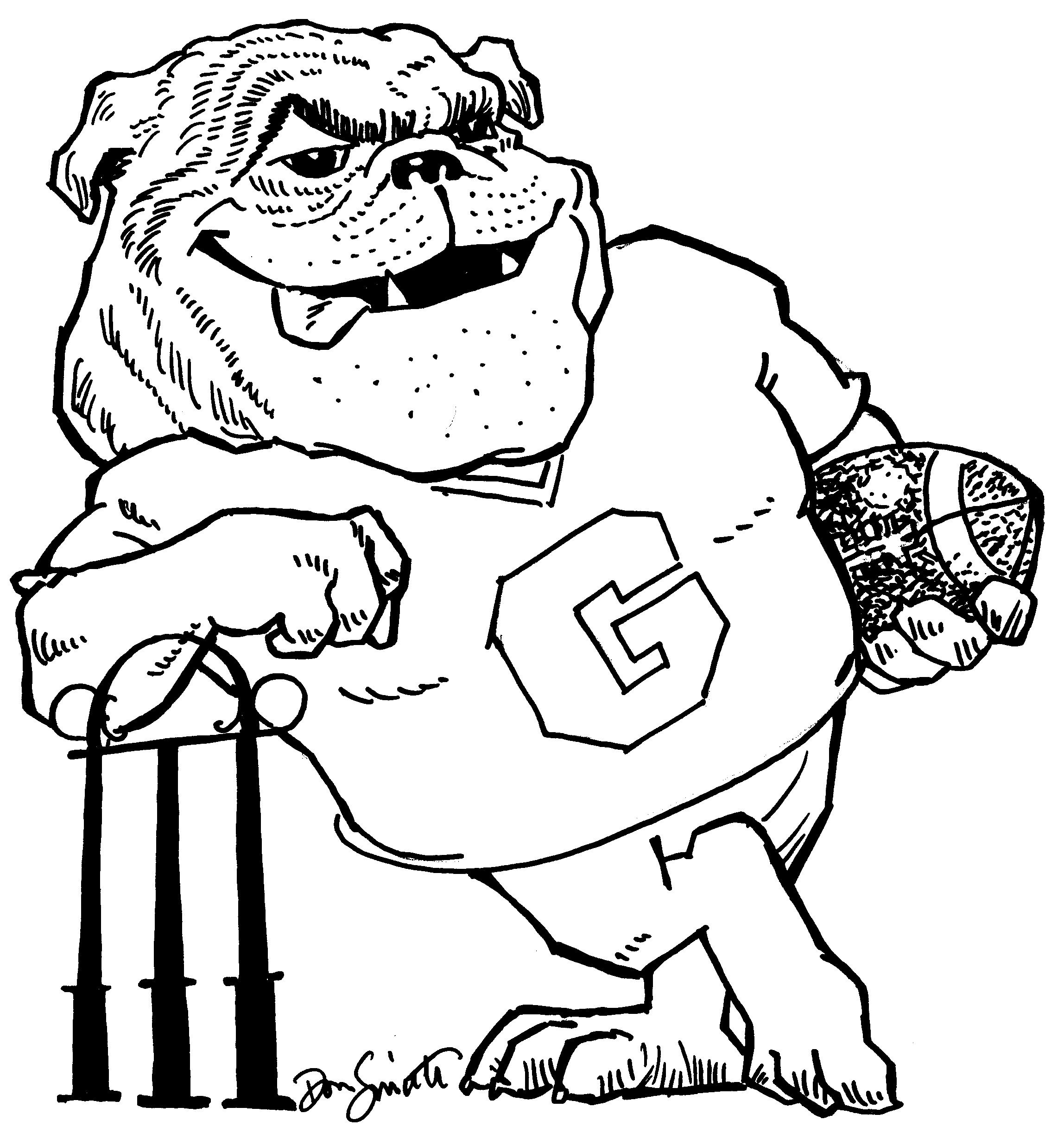 Bulldog clipart coloring page. Simple free printable pages