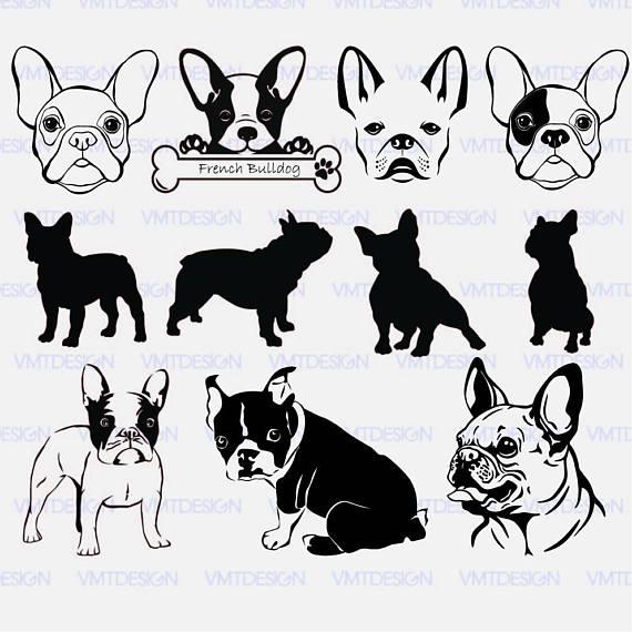 Svg face digital files. Bulldog clipart french bulldog