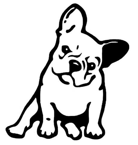 Dog vinyl car sticker. Bulldog clipart french bulldog