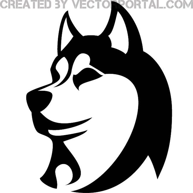 Dog image sketch pinterest. Husky clipart vector