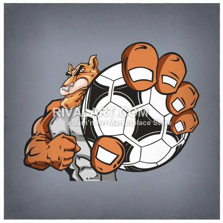 Cheetah holding a ball. Bulldog clipart soccer