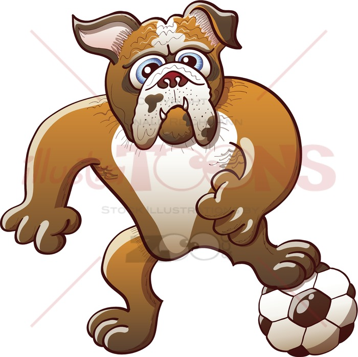 Bulldog clipart soccer. Strong playing by preparing