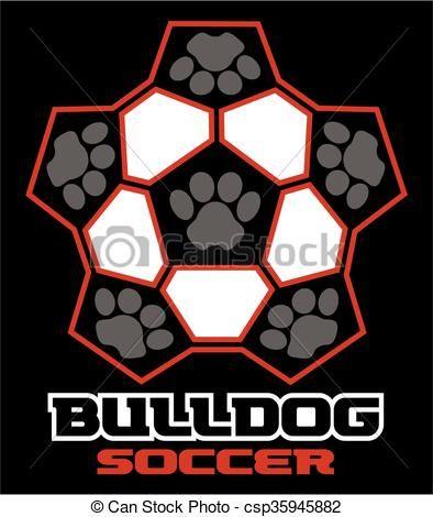 Bulldog clipart soccer. Vector stock illustration royalty
