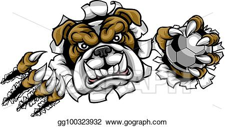 Eps illustration football mascot. Bulldog clipart soccer