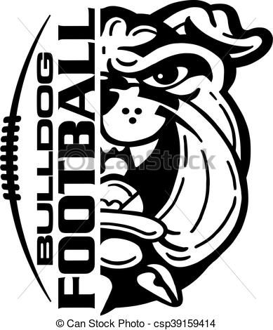 Clipart dogs football. Vector bulldog stock illustration