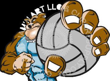 Bulldog clipart volleyball. Holding