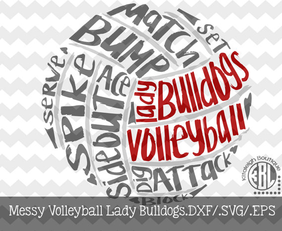 Bulldog clipart volleyball. Messy lady design instant
