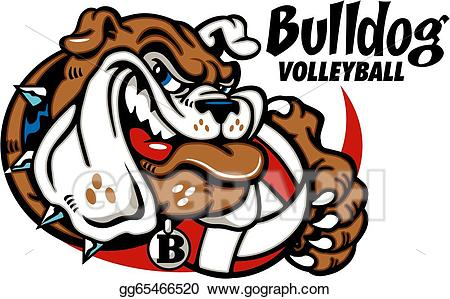 Vector art with drawing. Bulldog clipart volleyball