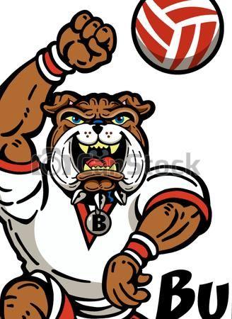 Bulldog clipart volleyball. Eps vector of cute