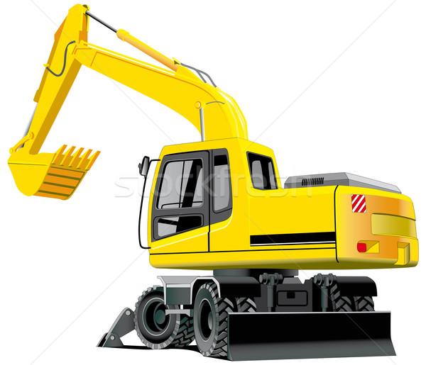 Excavator stock photos images. Bulldozer clipart backhoe