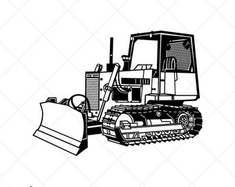 Bulldozer clipart black and white. Etsy detailed vector clip