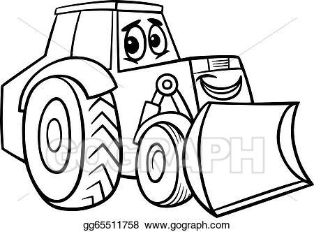Eps vector cartoon for. Bulldozer clipart black and white