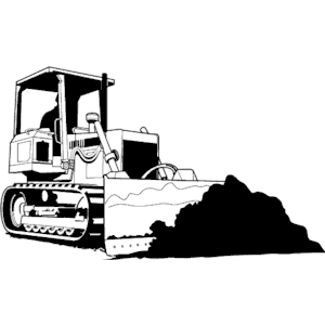 Free vector art download. Bulldozer clipart black and white