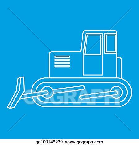 Bulldozer clipart blue. Icon outline stock illustration