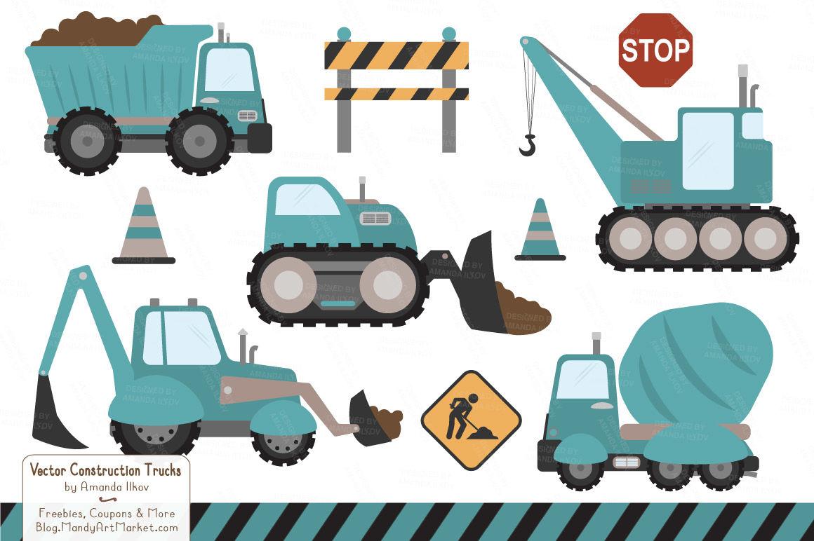 Bulldozer clipart blue. Construction trucks in vintage