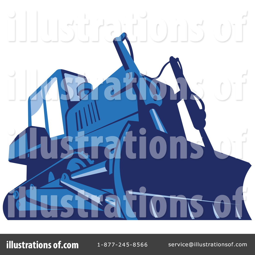 Illustration by patrimonio royaltyfree. Bulldozer clipart blue