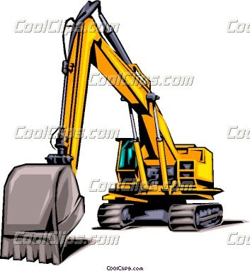 Construction excavating business card. Backhoe clipart contractor