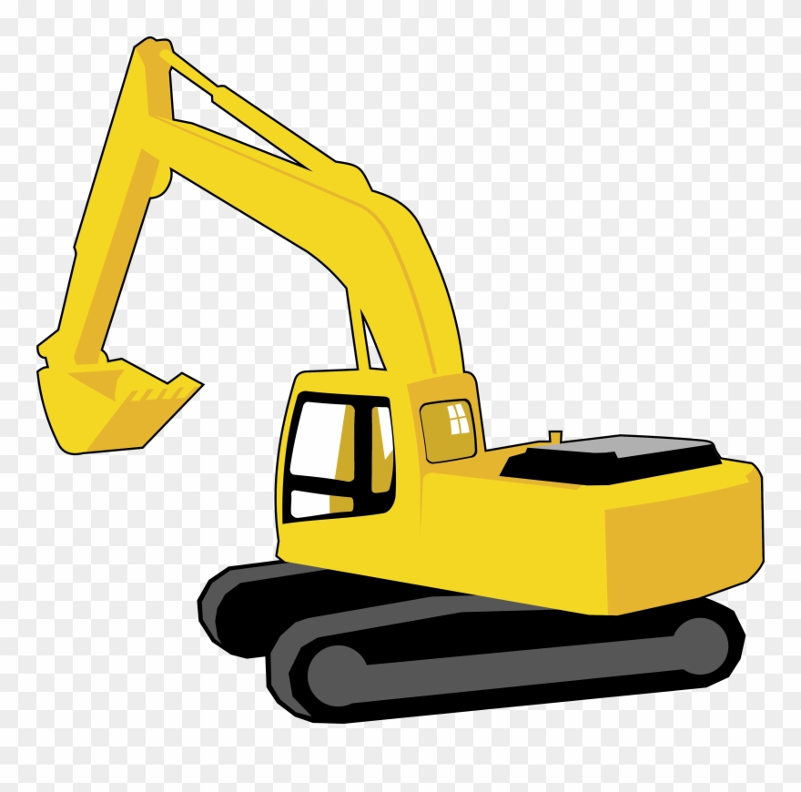 Yellow construction equipment vehicle. Excavator clipart digger