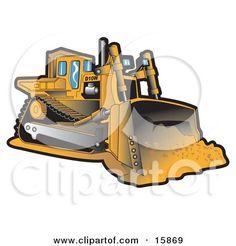 Heavy equipment vector clip. Bulldozer clipart earth mover
