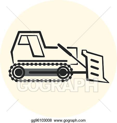 Vector outline icon . Bulldozer clipart earth mover