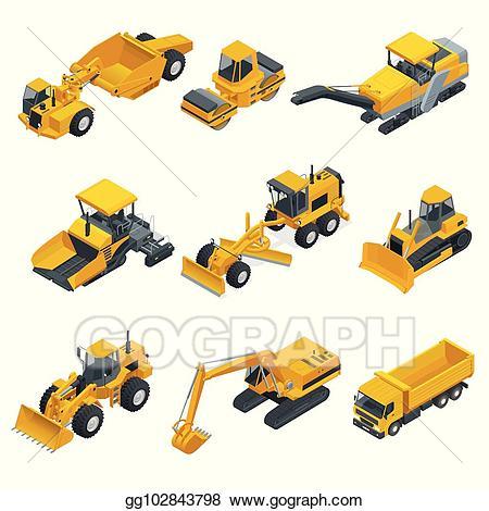 Vector big isometric set. Bulldozer clipart heavy equipment