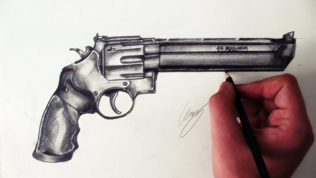 Bullet clipart 44 magnum. Handgun drawing at getdrawings