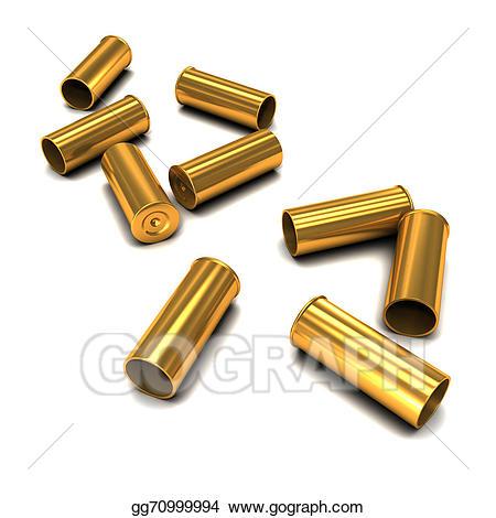 Drawing d empty casings. Bullet clipart bullet casing