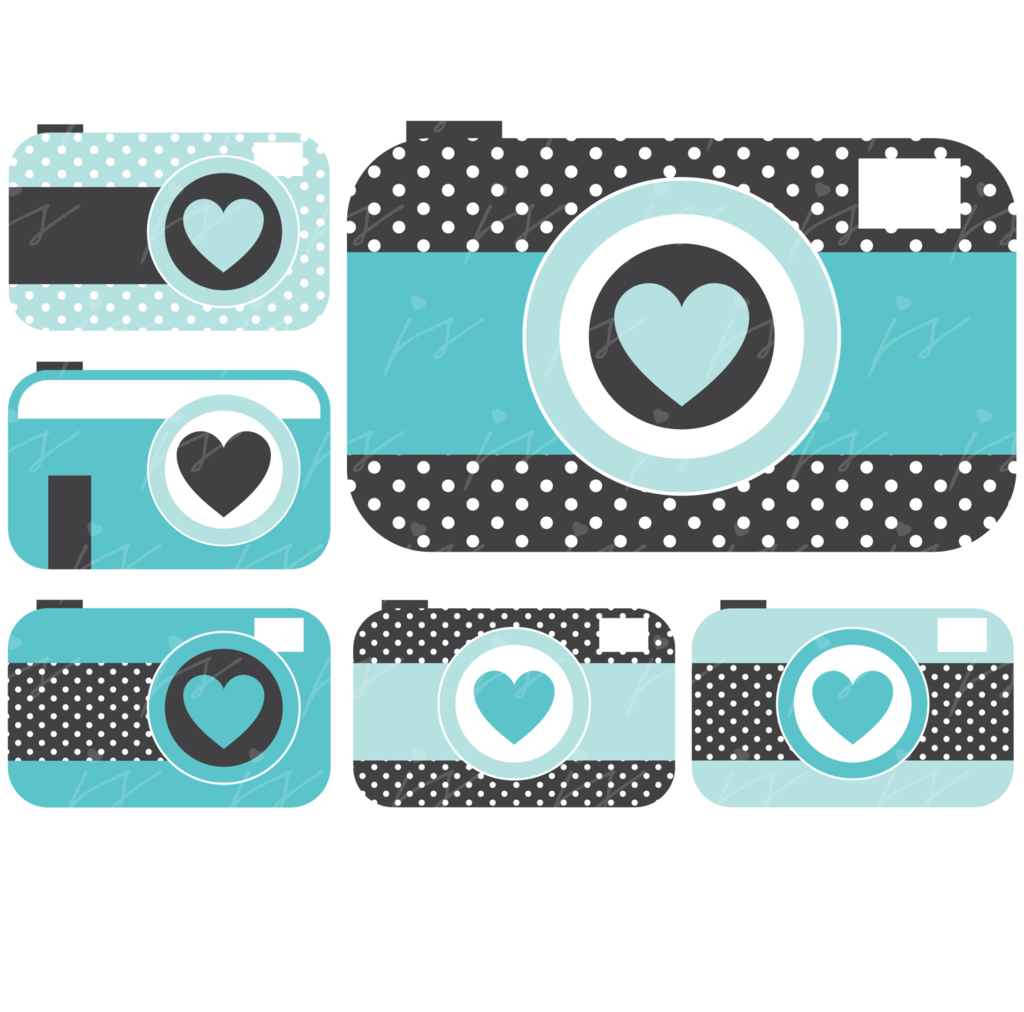 Turquoise camera with hearts. Bullet clipart dot