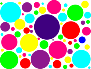 Bullet clipart dot. Multi colored polka dots