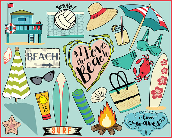 Beach planner stickers clip. Bullet clipart file