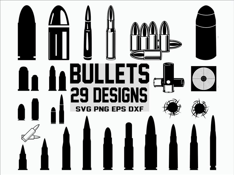 Bullet clipart svg. Army weapon silhouette cut