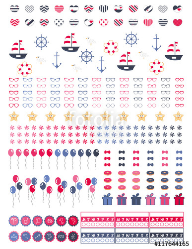 Bullet clipart vector. Decorative sheet for planners