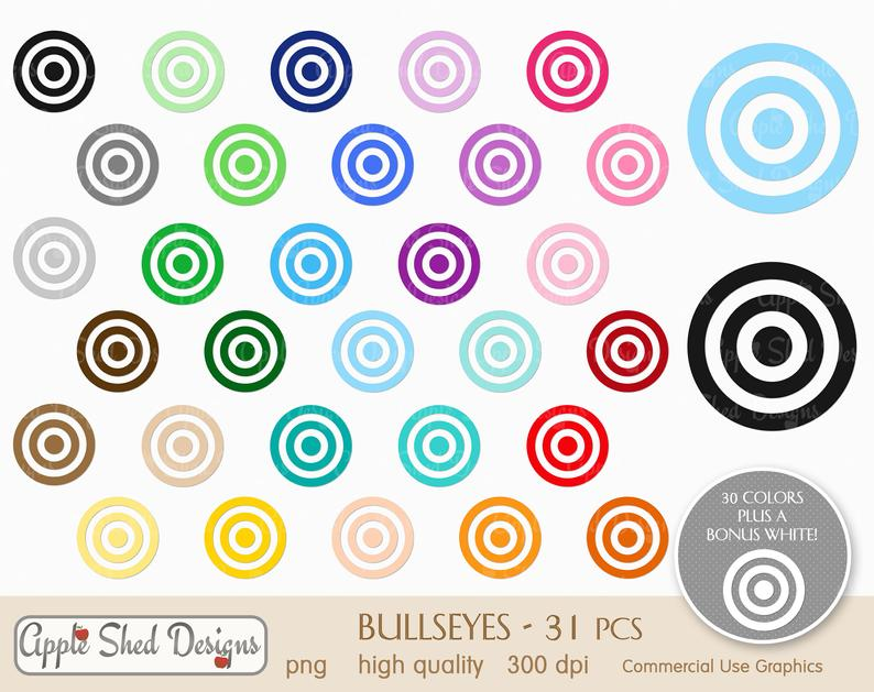 Qty planner icons rainbow. Bullseye clipart colorful