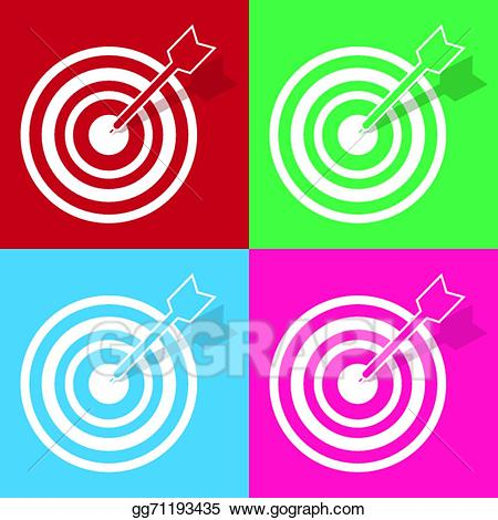 Vector illustration colors stock. Bullseye clipart colorful