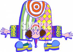 Clown bending over with. Bullseye clipart colorful