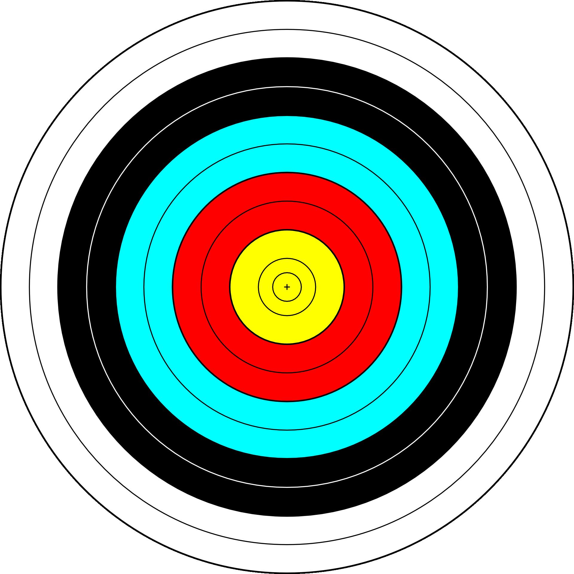 Target archery shooting clip. Bullseye clipart colorful