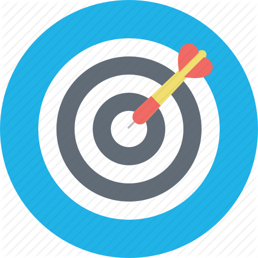 Dartboard goal opportunity target. Bullseye clipart focus