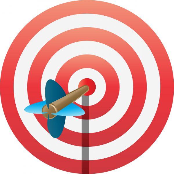 An arrow hitting the. Bullseye clipart number