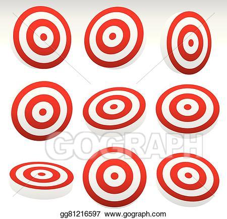 Bullseye clipart perfection. Vector red target set