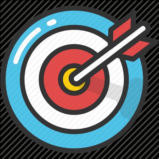 Aim goal target icon. Bullseye clipart research objective