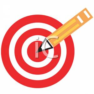 Bullseye clipart target learning. A and pencil royalty