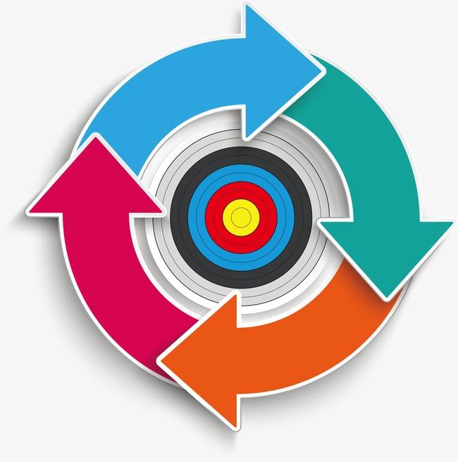 Ring and arrows arrow. Bullseye clipart vector