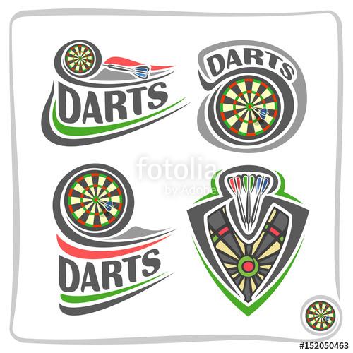 Set icons for darts. Bullseye clipart vector