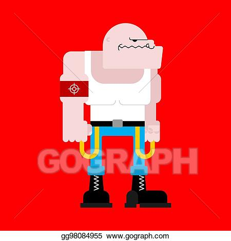 Vector art skinhead isolated. Bully clipart angry