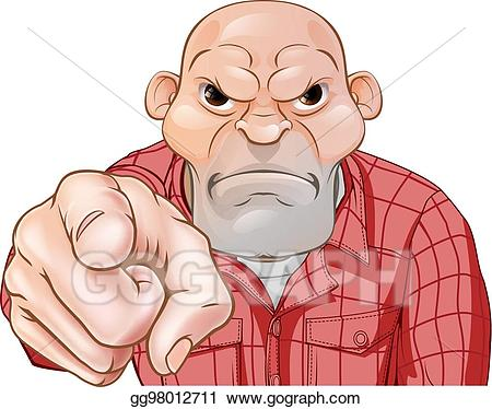 Bully clipart angry. Vector stock thug pointing