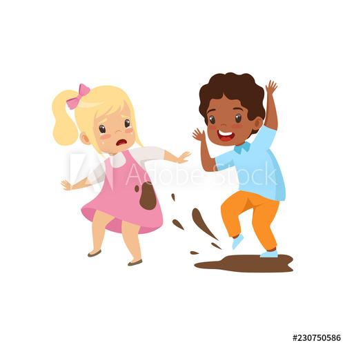Bully clipart bad behaviour. Boy dirtying the girl