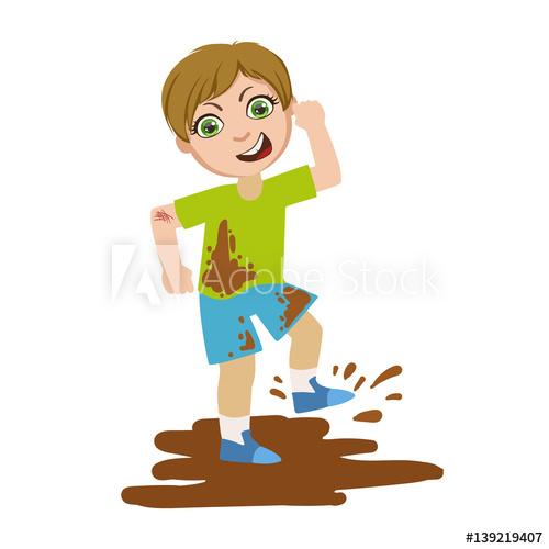 Boy jumping in dirt. Bully clipart bad kid