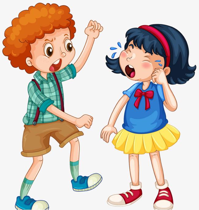 Girl cry boy png. Bully clipart cartoon